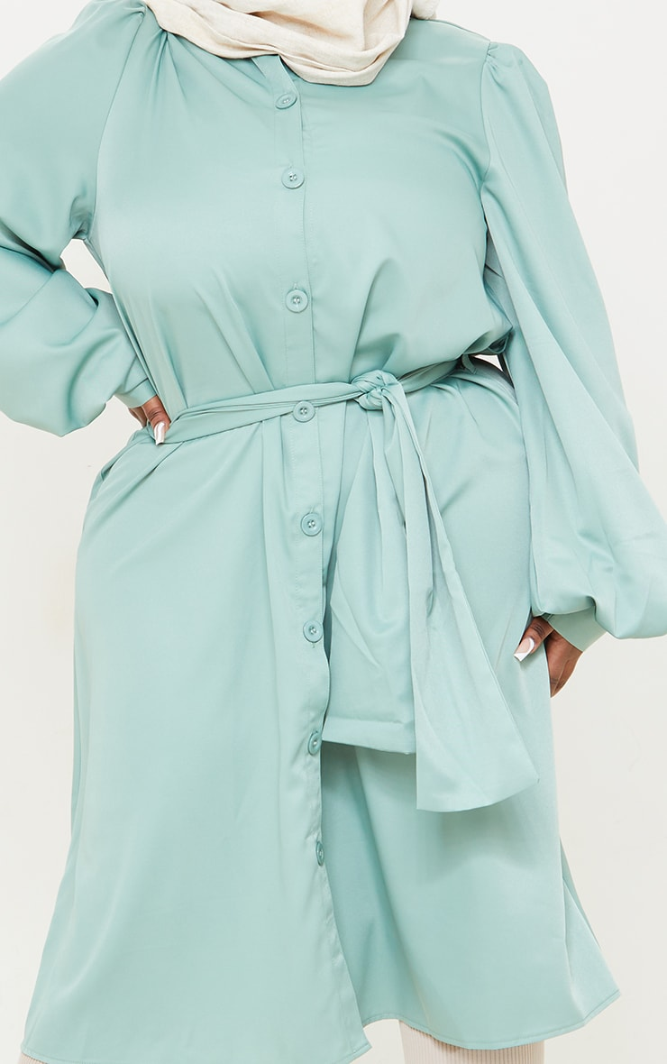 Plus Sage Green Wrap Front Puff Sleeve Shirt Dress 4