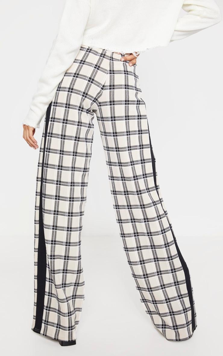 Stone Check Wide Leg Side Stripe Trouser 4