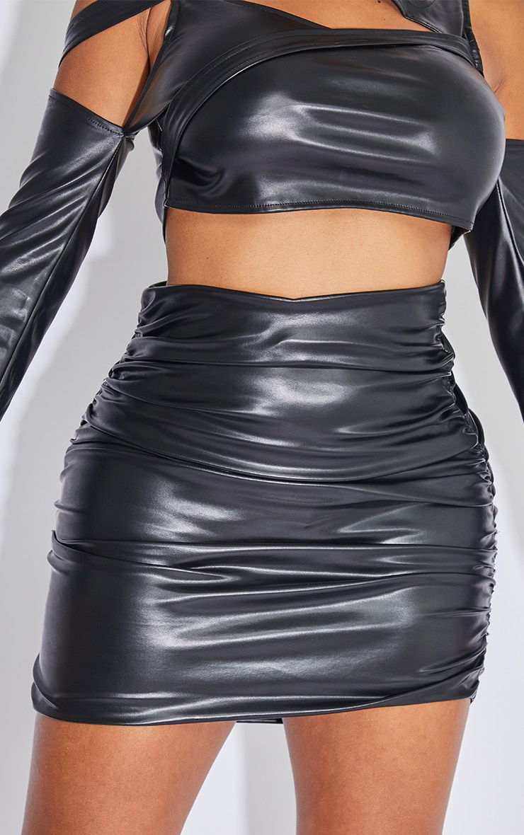 Shape Black Faux Leather Ruched Bodycon Skirt 6