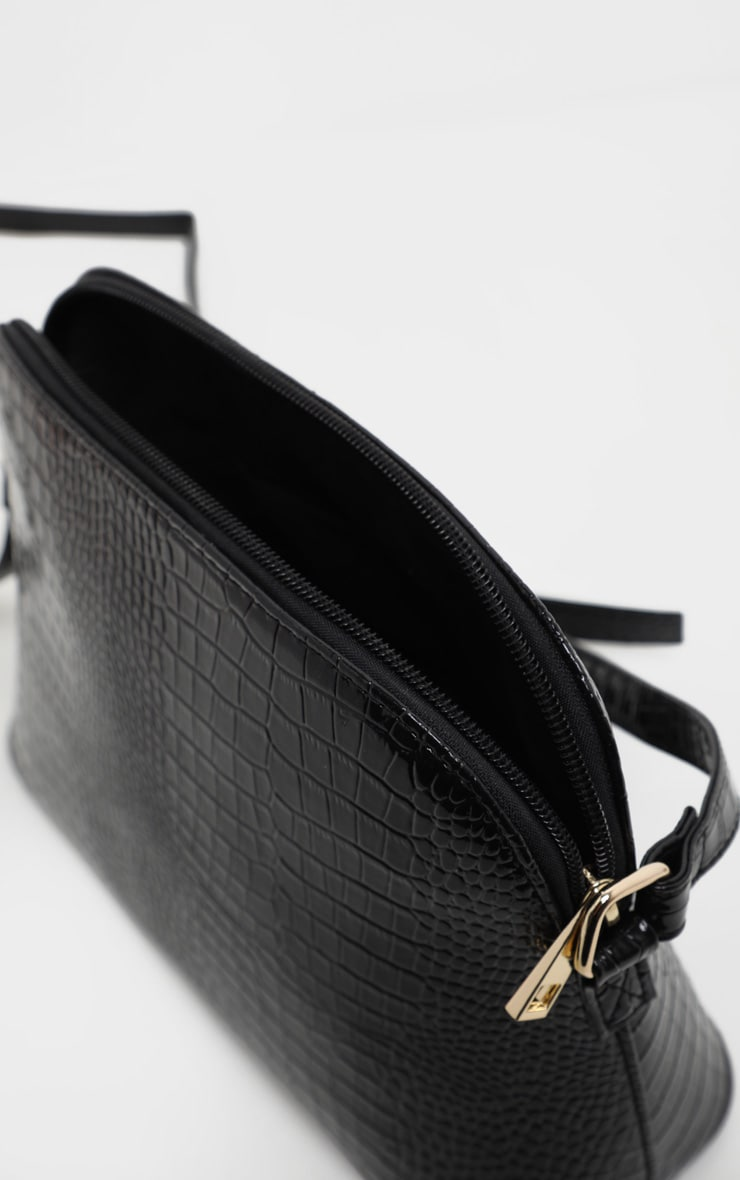 Black Croc Printed PU Cross Body 4