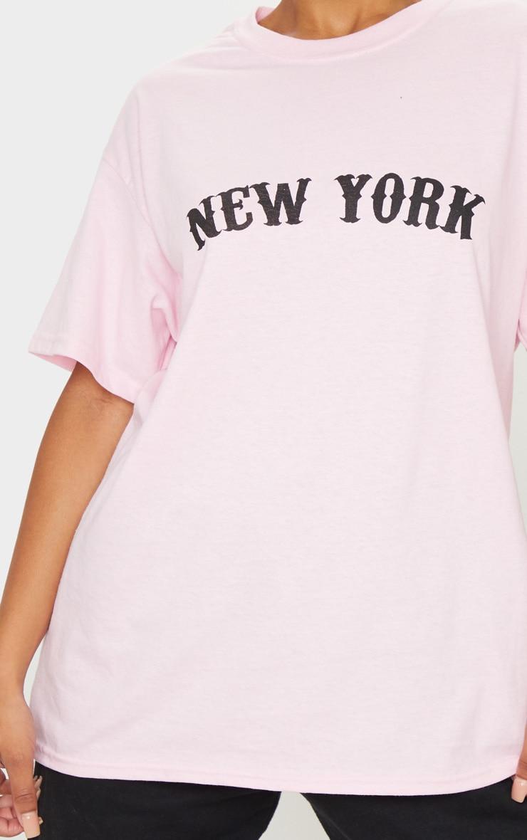 Baby Pink New York Printed T Shirt 4