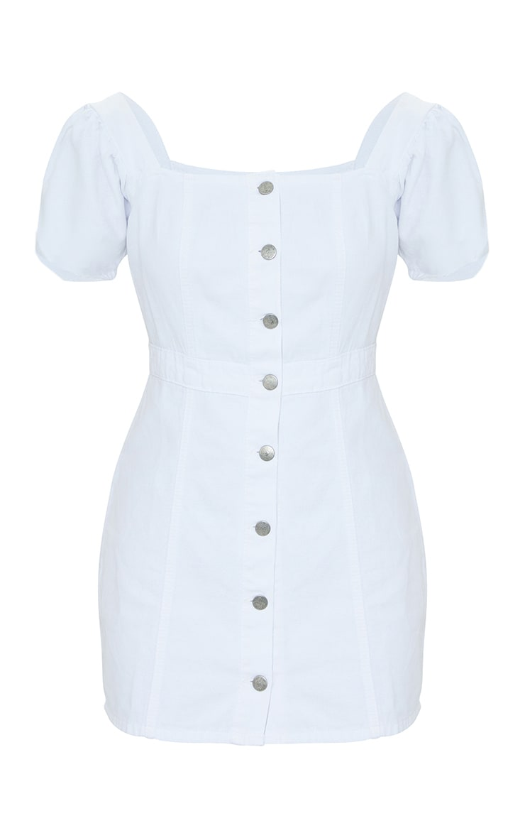 White Button Through Denim Dress 5
