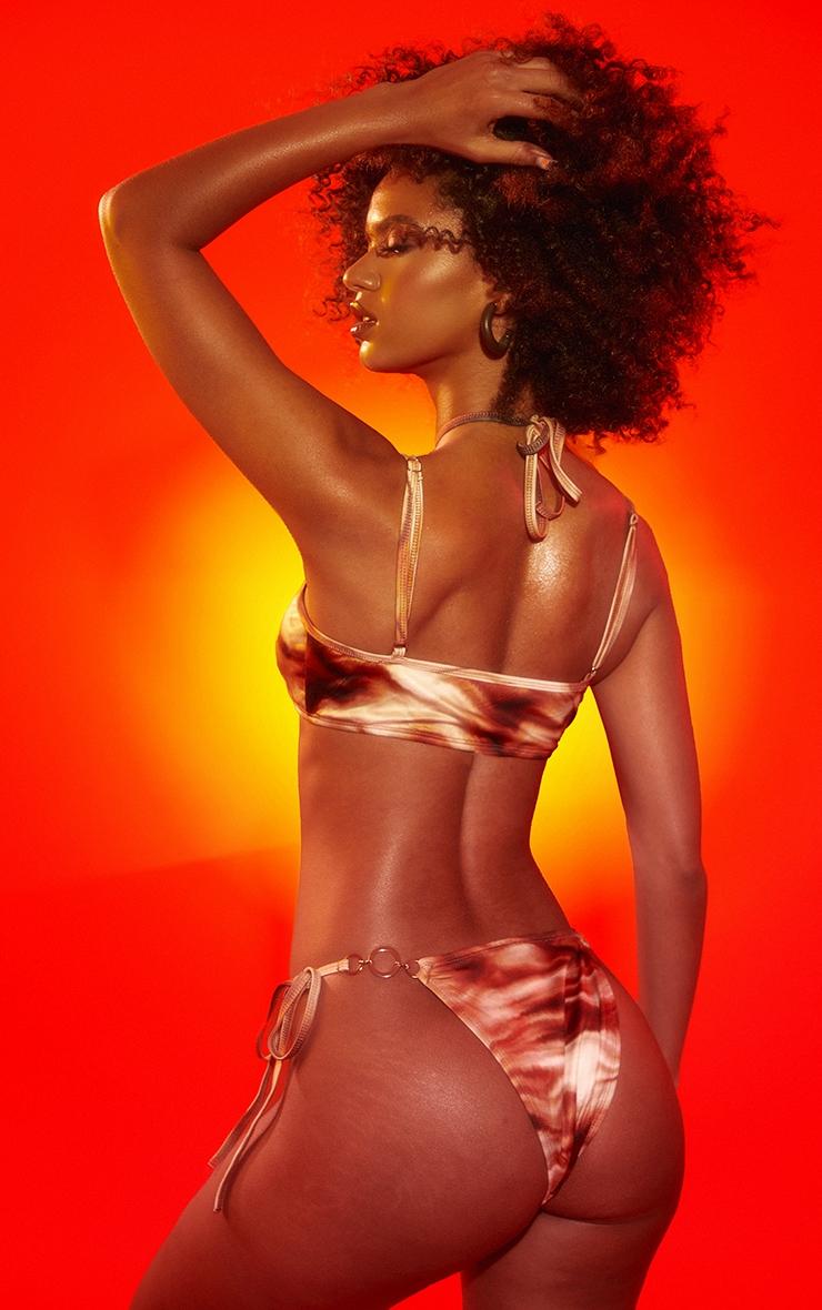 Brown Abstract Wave Triple O Ring Cross Front Halterneck Bikini Top 2