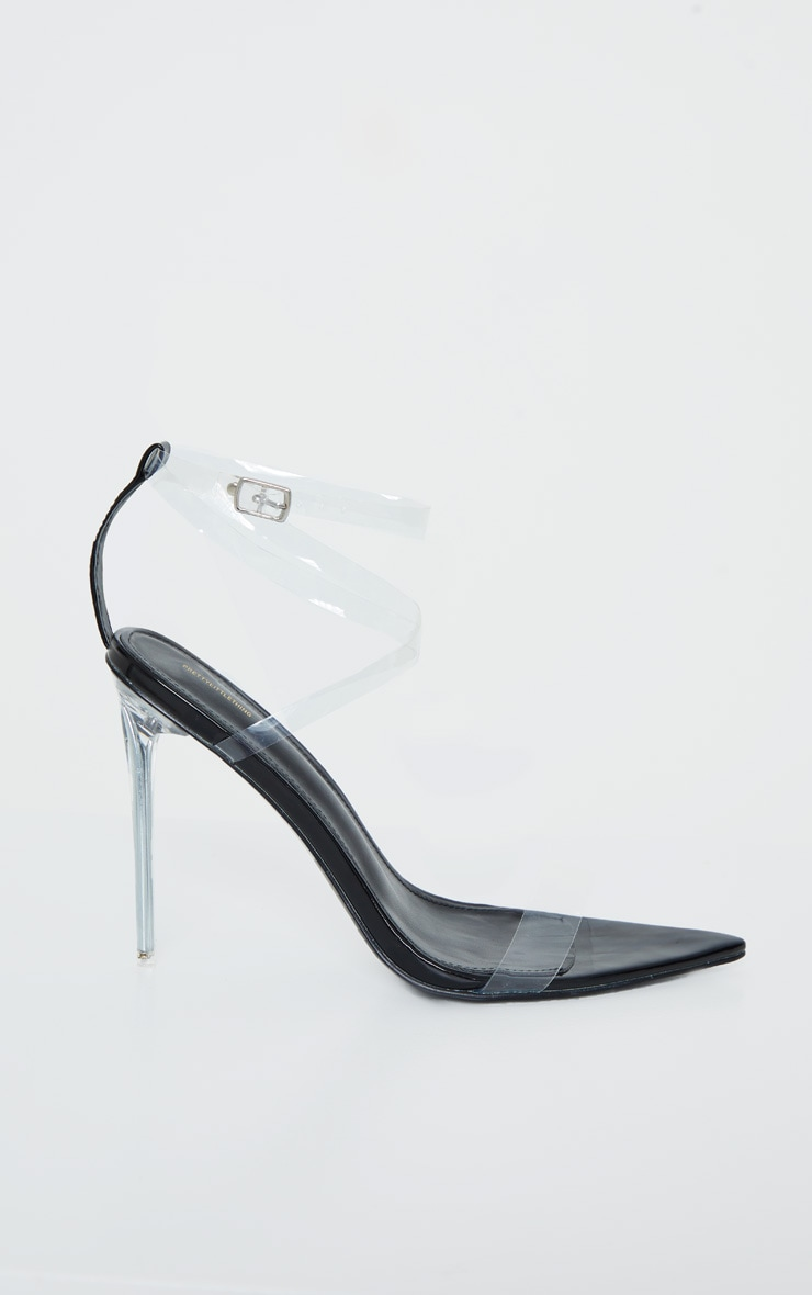 Black Point Toe Clear Heel Clear Strap Sandal 3