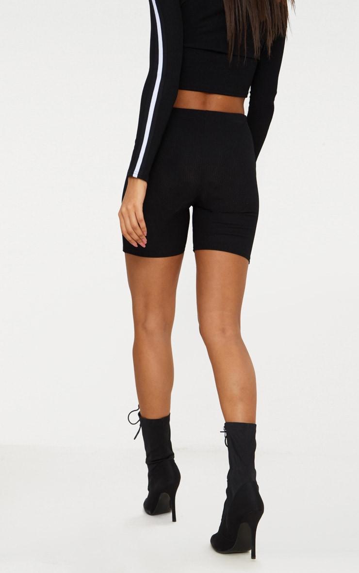 Black Sport Stripe bike Short 4
