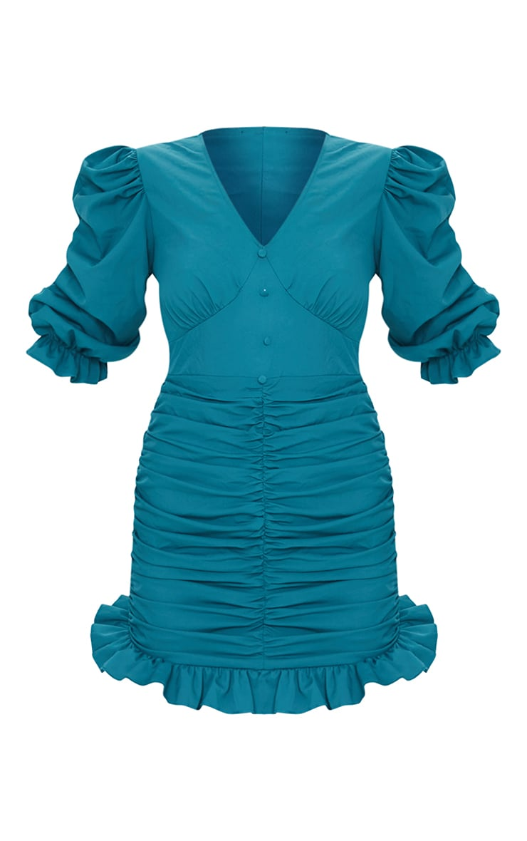 Emerald Green Plunge Puff Sleeve Ruched Skirt Bodycon Dress 5