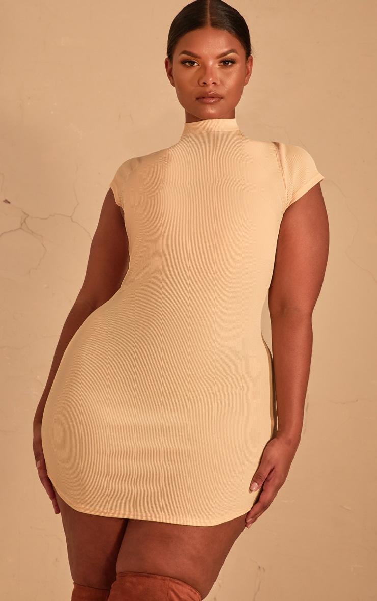 Plus Cream Ribbed High Neck Bodycon Dress  4