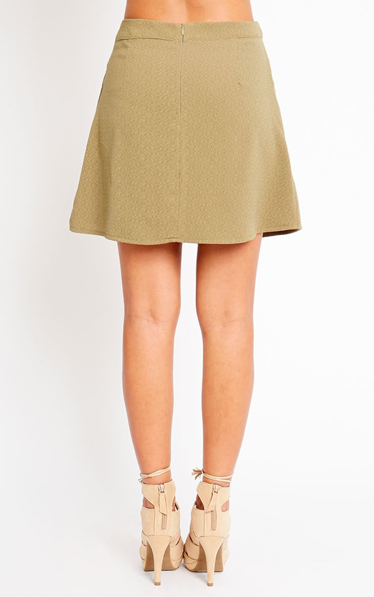Rori Khaki Crepe A Line Mini Skirt 4