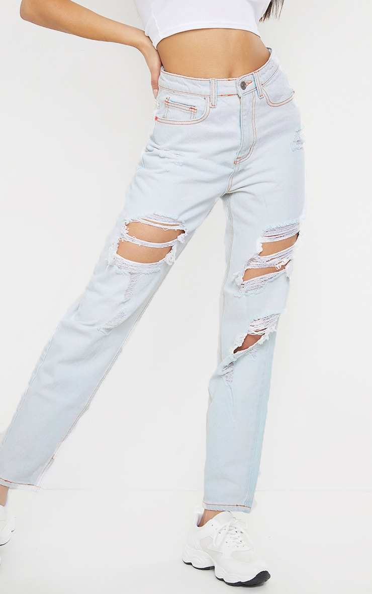 PRETTYLITTLETHING Light Bleach Wash Distressed Mom Jeans 4