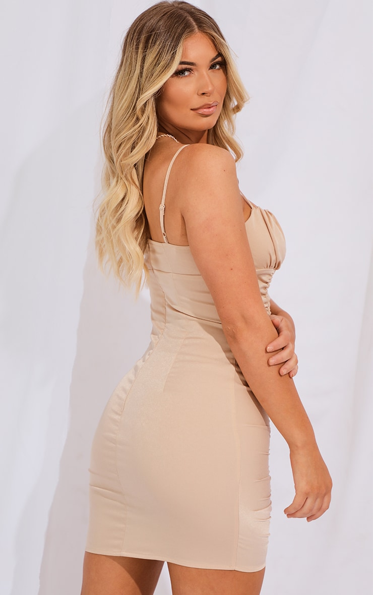 Nude Satin Strappy Ruched Panel Bodycon Dress 2