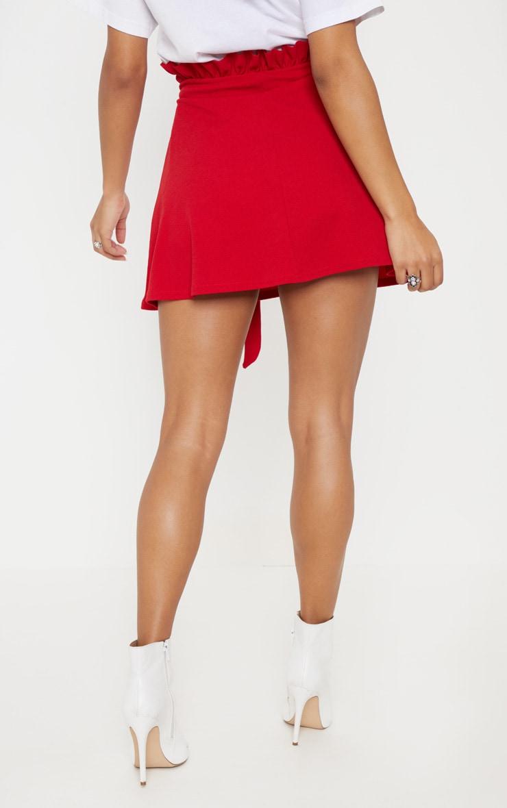 Red Tie Waist A Line Mini Skirt 4
