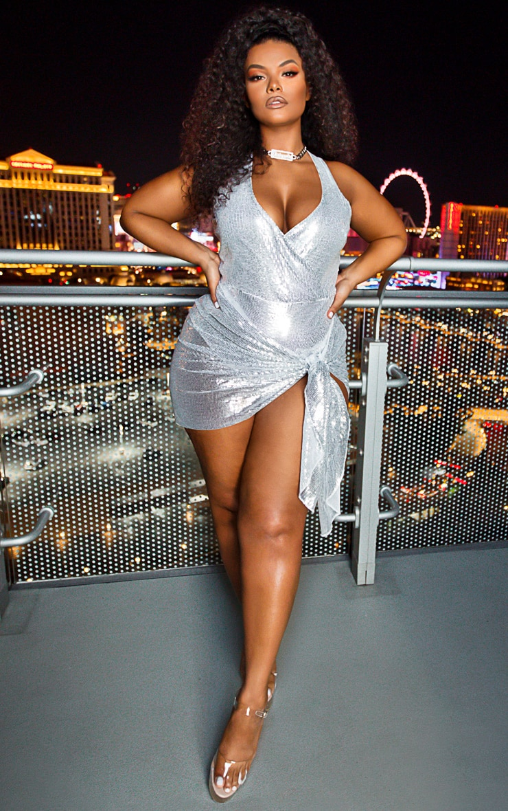Plus Silver Sequin Mini Sarong 1