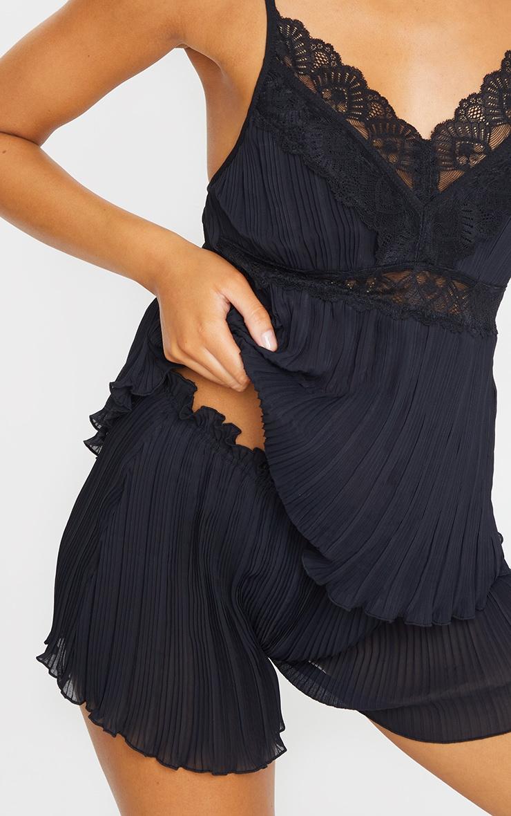 Black Crinkle Chiffon Cami And Shorts PJ Set 4