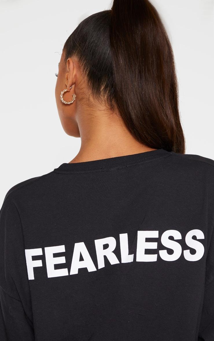 T-shirt manches longues noir à slogan Fearless au dos 5