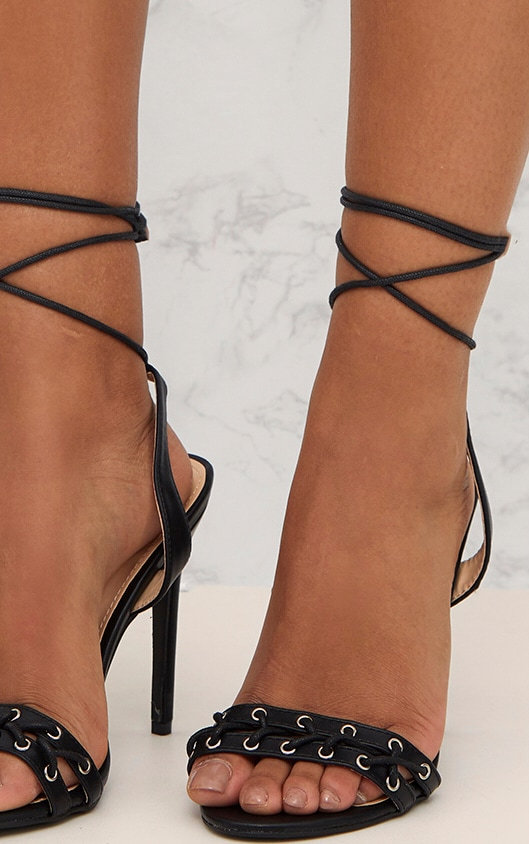 Black PU Lace Up Strap Heeled Sandals  5