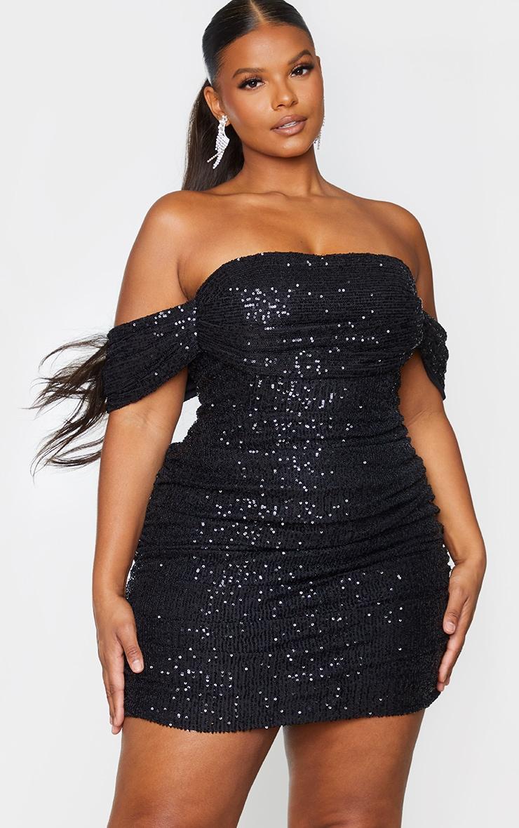 Plus Black Sequin Bardot Bodycon Dress 1