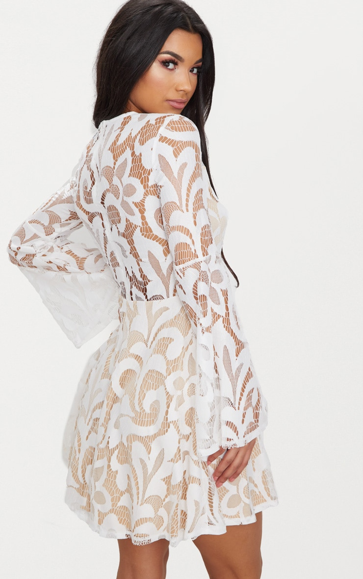 White Flare Sleeve Lace Skater Dress 2