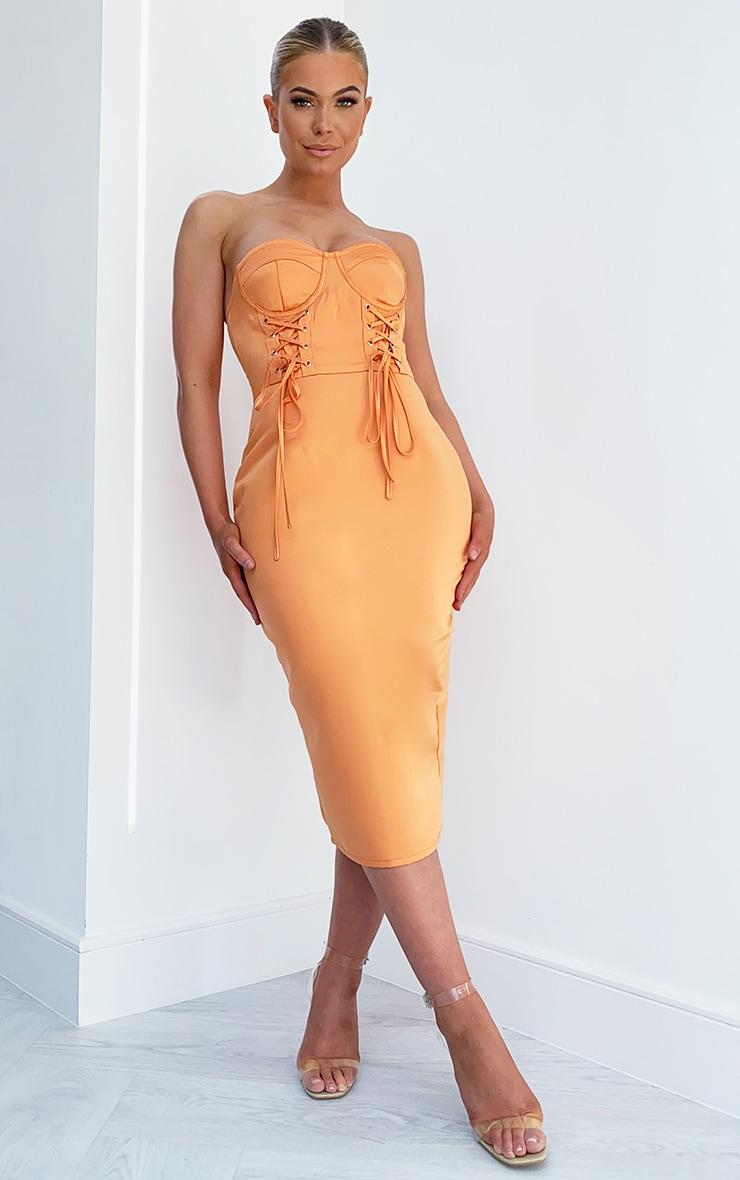 Tangerine Satin Lace Up Cup Detail Bandeau Midi Dress 1