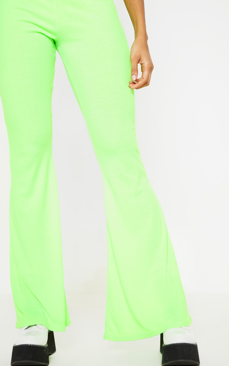 Neon Lime Ribbed Flared Trouser  5