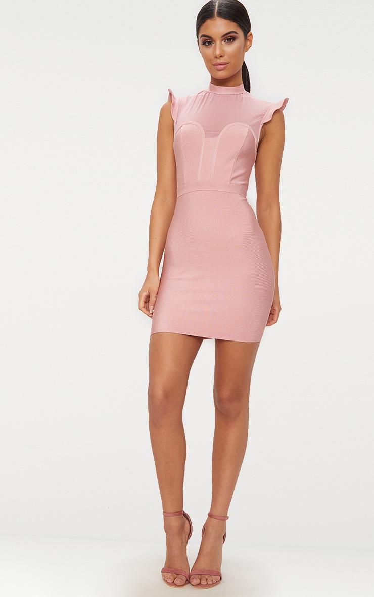 Rose Bandage Mesh Detail Frill Shoulder Bodycon Dress 4