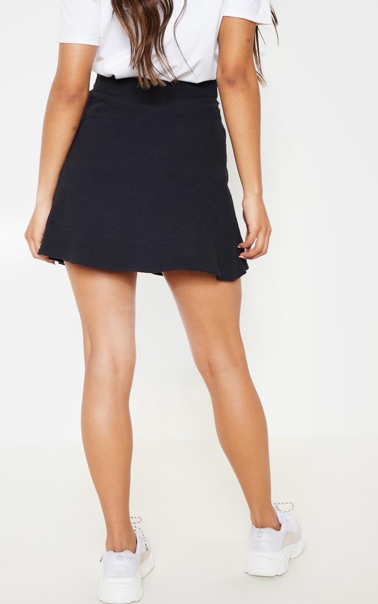 Black Button Front Linen Feel Mini Skirt 4