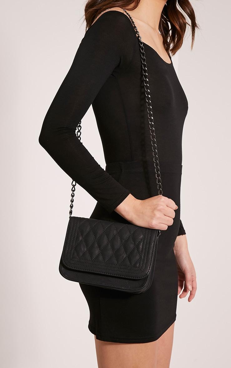 Emma Black Quilted Chain Strap Shoulder Bag 2