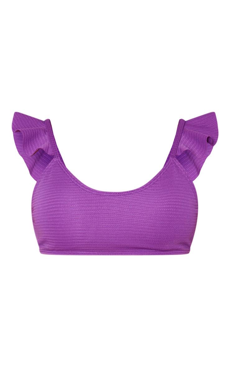 Purple Ribbed Frill Shoulder Bikini Top 3