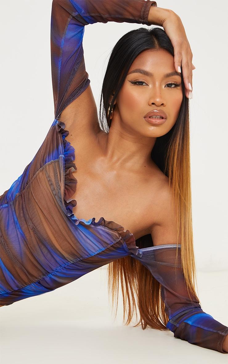 Blue Blur Printed Mesh Ruched Bardot Bodysuit 4