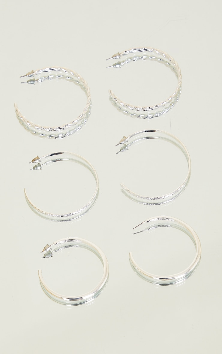 Silver Assorted Textured Multi Pack Hoop Earrings 2