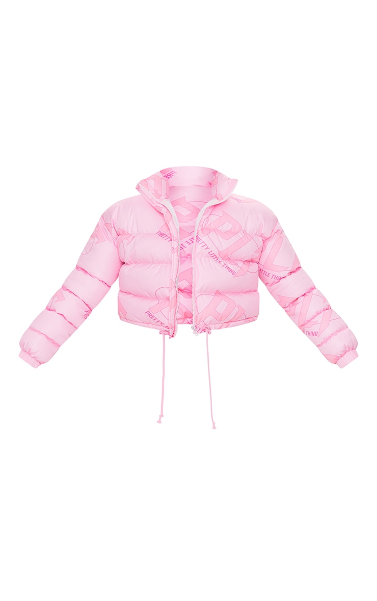 PRETTYLITTLETHING Pink Tonal Logo Cropped Puffer 5