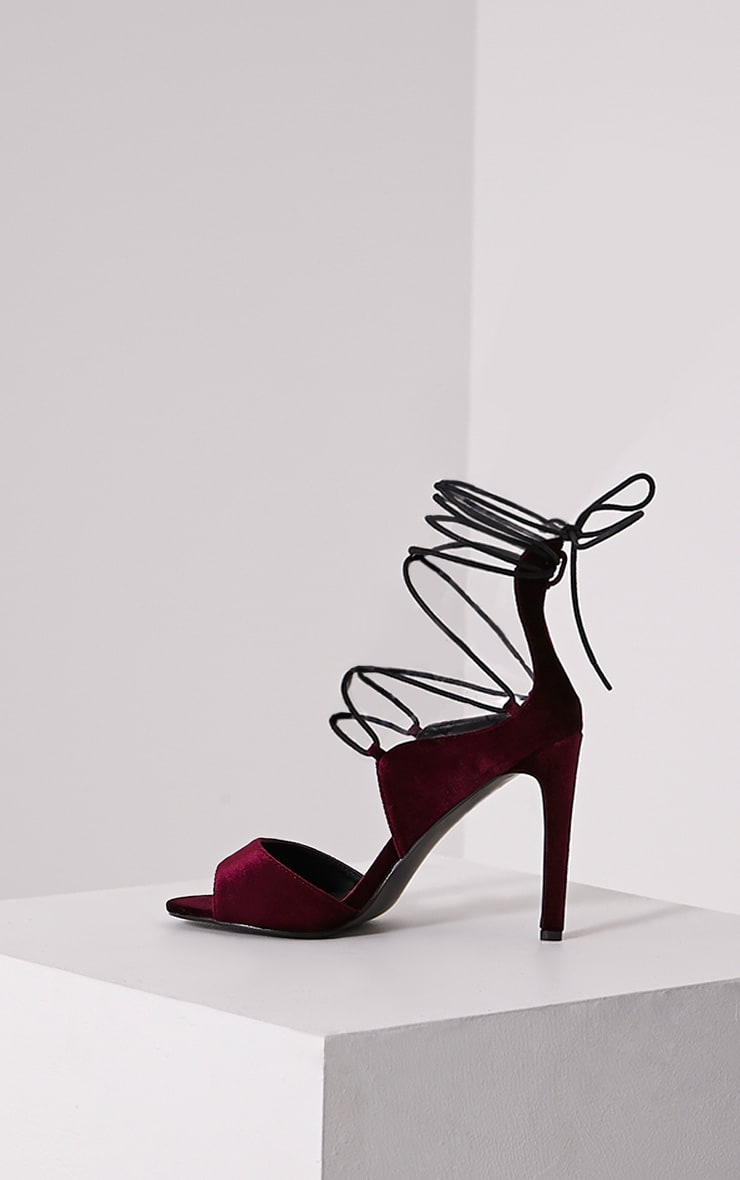 Heidey Burgundy Velvet Lace Up Heels 4