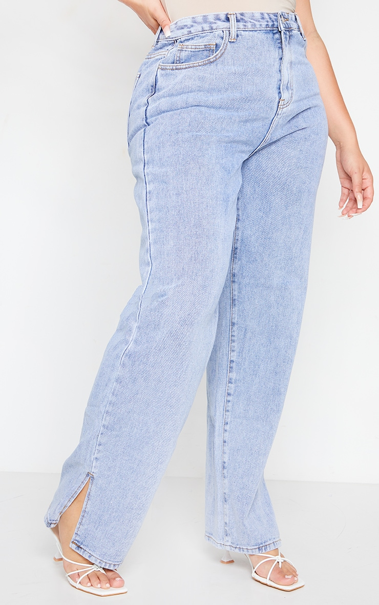 Plus Bleach Wash Split Hem Jeans 2