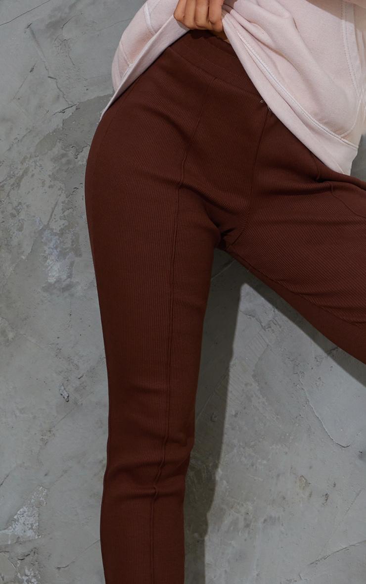 Chocolate Casual Heavy Knit Rib Seam Detail Leggings 4