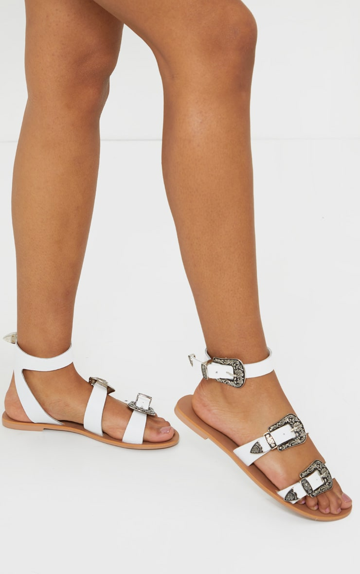 White Western Buckle Leather Sandal 1