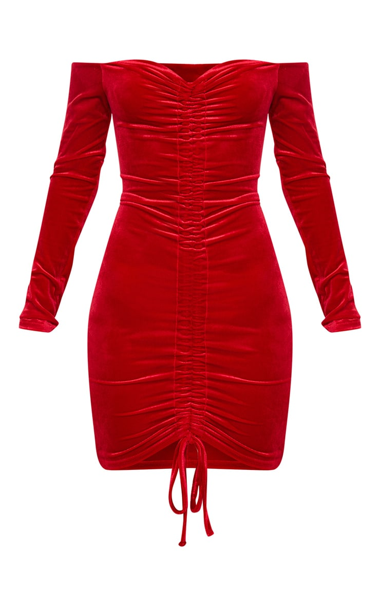 Red Velvet Bardot Long Sleeve Ruched Bodycon Dress 3