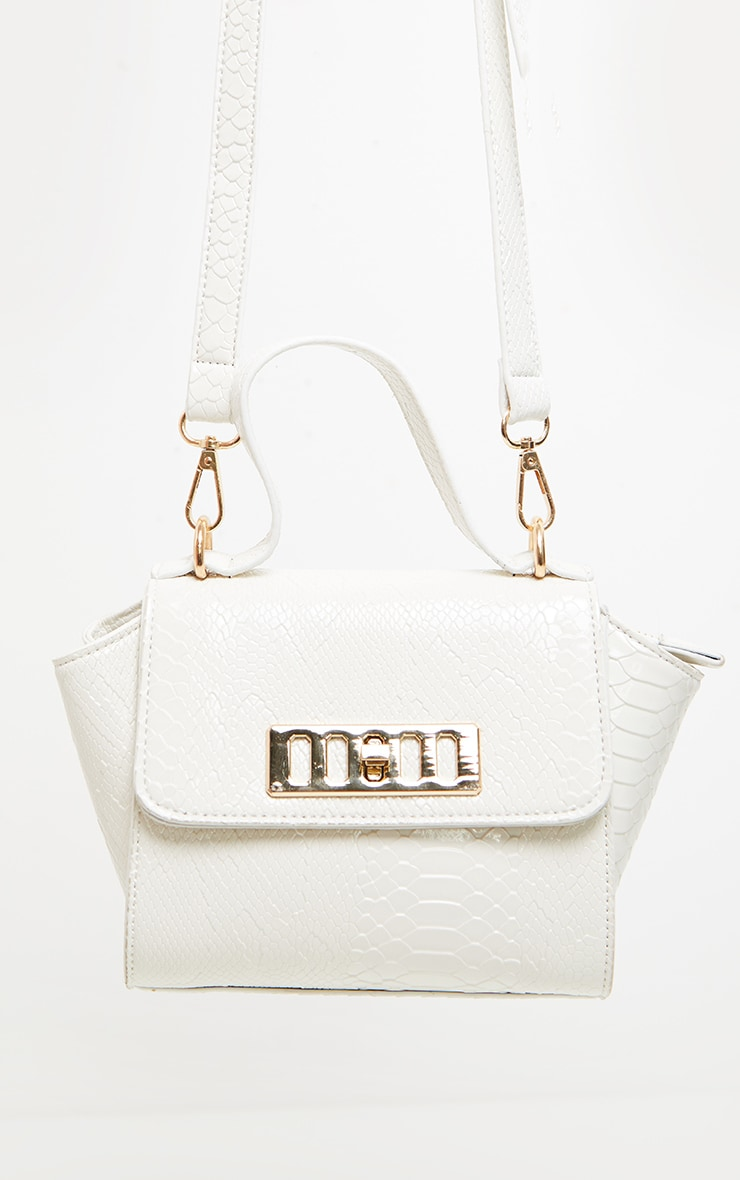 White Croc Metal Fastening Mini Bag 3