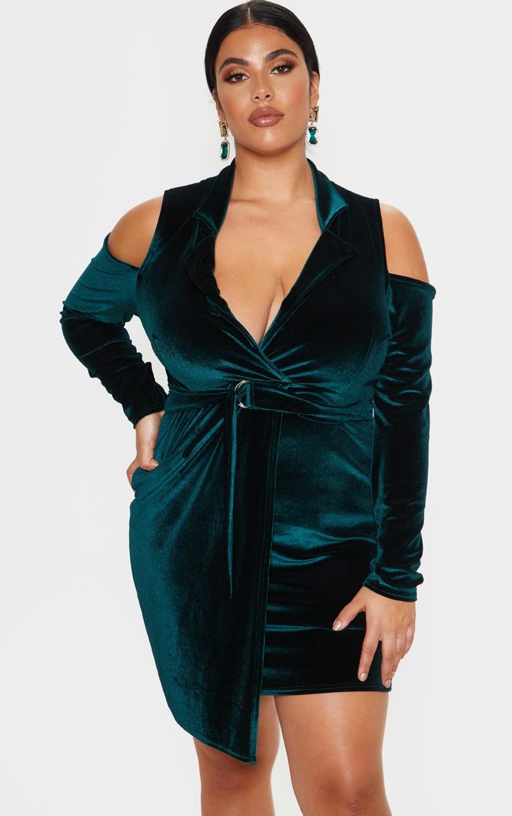 Plus Emerald Green Velvet Cold Shoulder Blazer Dress 1