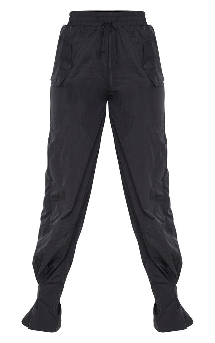 Black High Waisted Pocket Cuff Detail Trouser 3