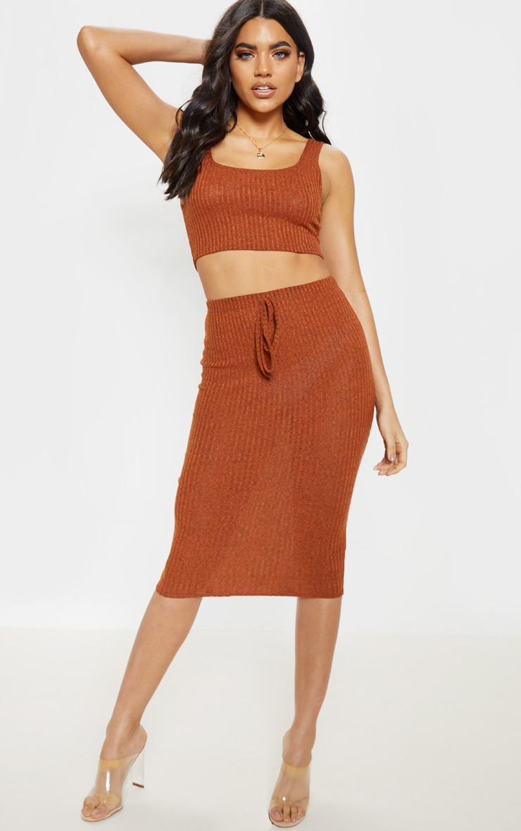 Orange Knitted Ribbed Crop Top  4
