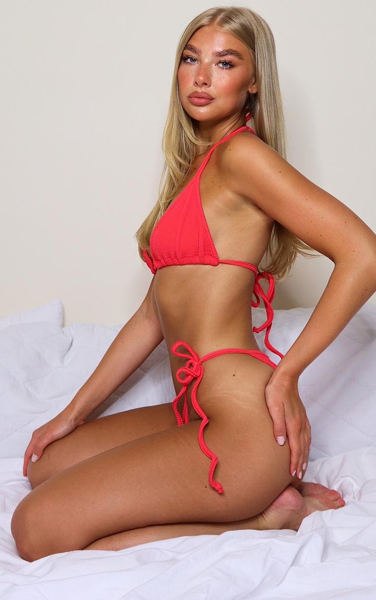 Red Crinkle Tie Side Bikini Bottom 2