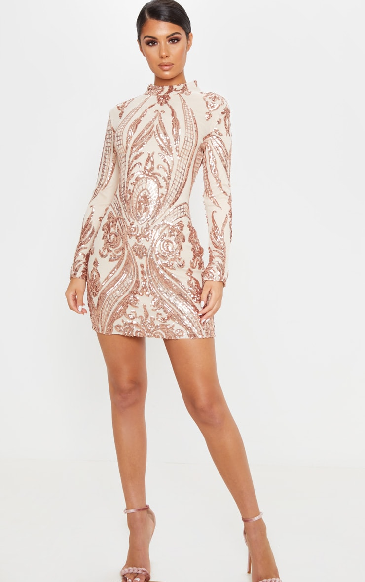 Rose Gold Multi Sequin High Neck Bodycon Dress 4