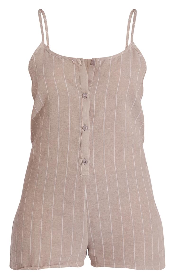 Stone Wide Stripe Cotton Button Up Romper 5