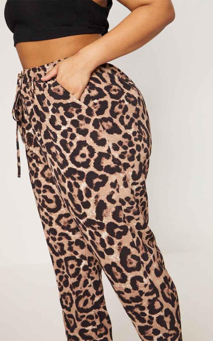 Plus Tan  Leopard Print Casual Pants  5