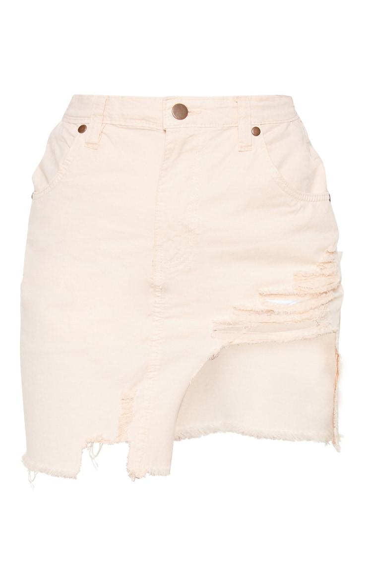 24efb33fc Petite Ecru Distressed Front Rip Denim Skirt   PrettyLittleThing