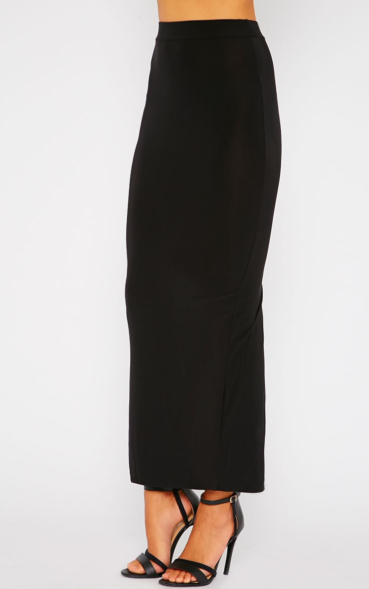 Maizie Black Slinky Split Maxi Skirt 3