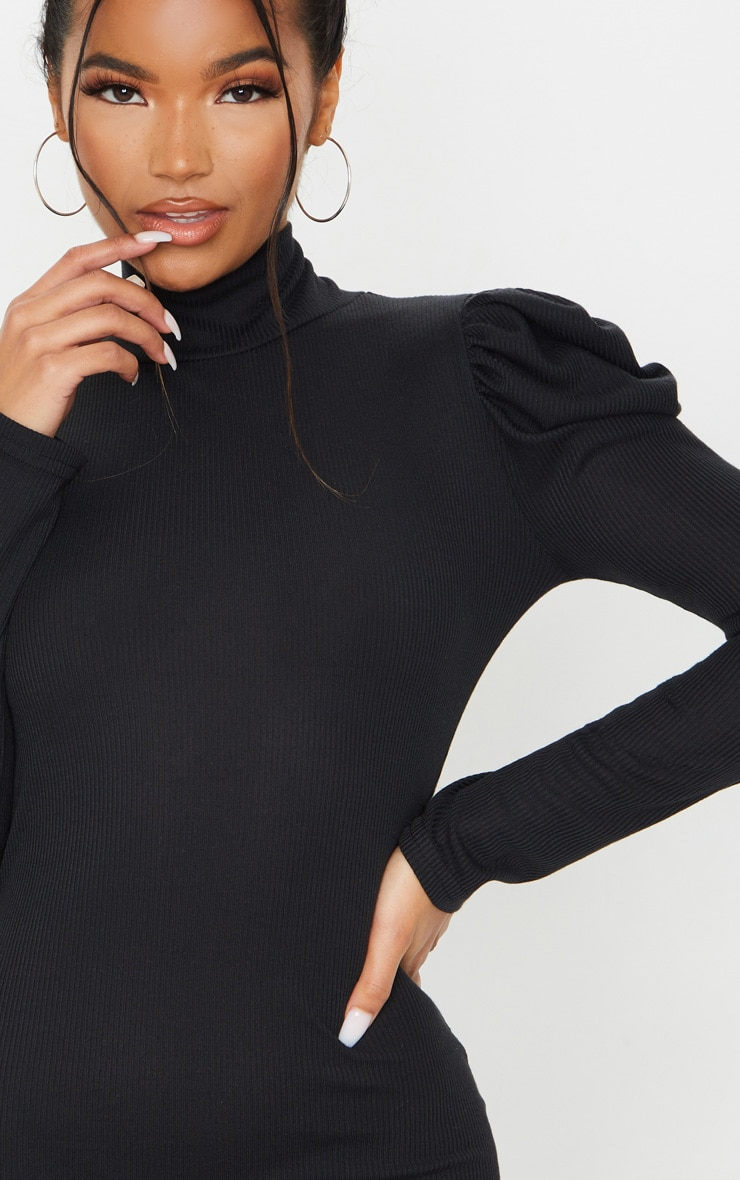 Black Rib Puff Sleeve High Neck Bodycon Dress 5