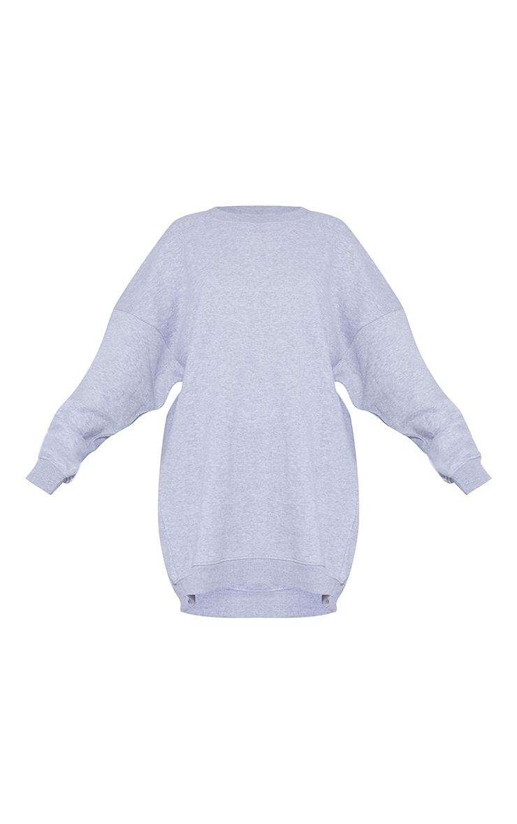 Grey Marl Drop Shoulder Oversized Sweat Jumper Dress 5