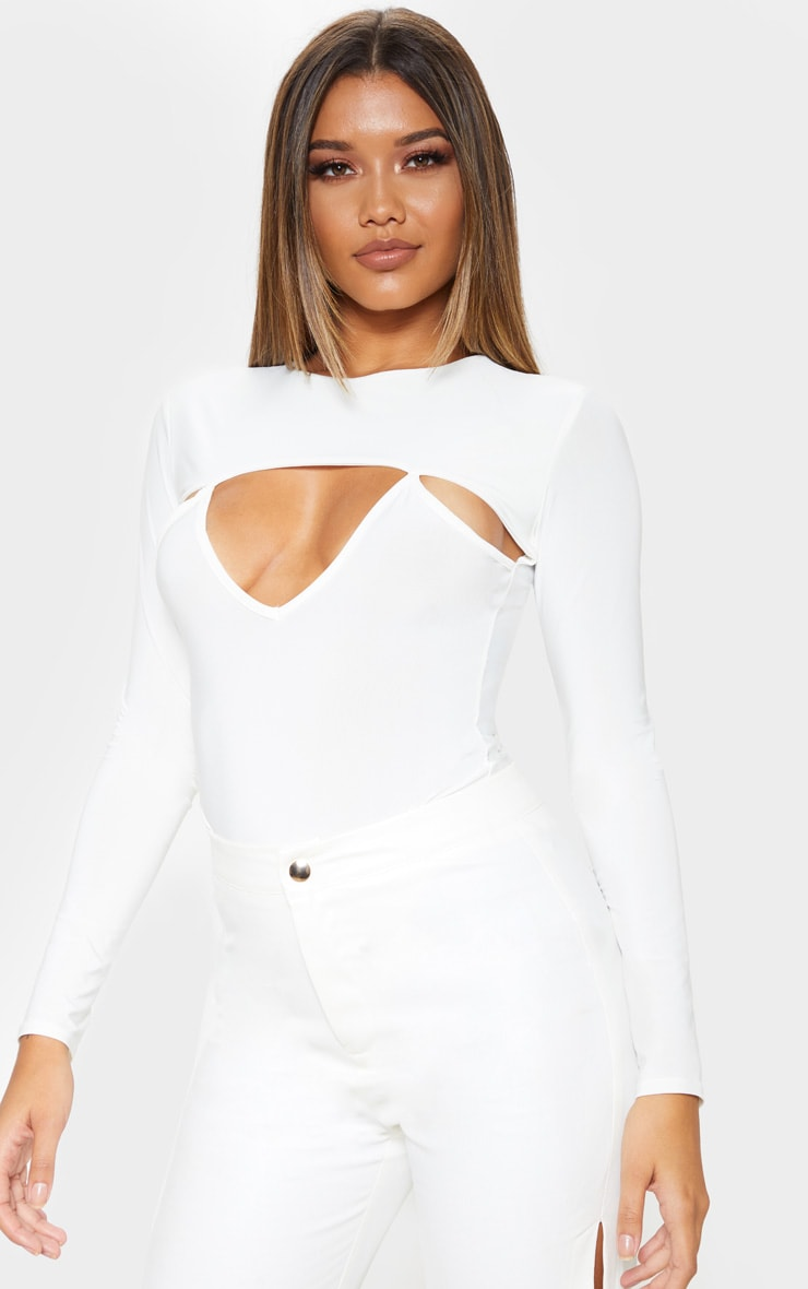White Slinky Cut Out Long Sleeve Thong Bodysuit  1