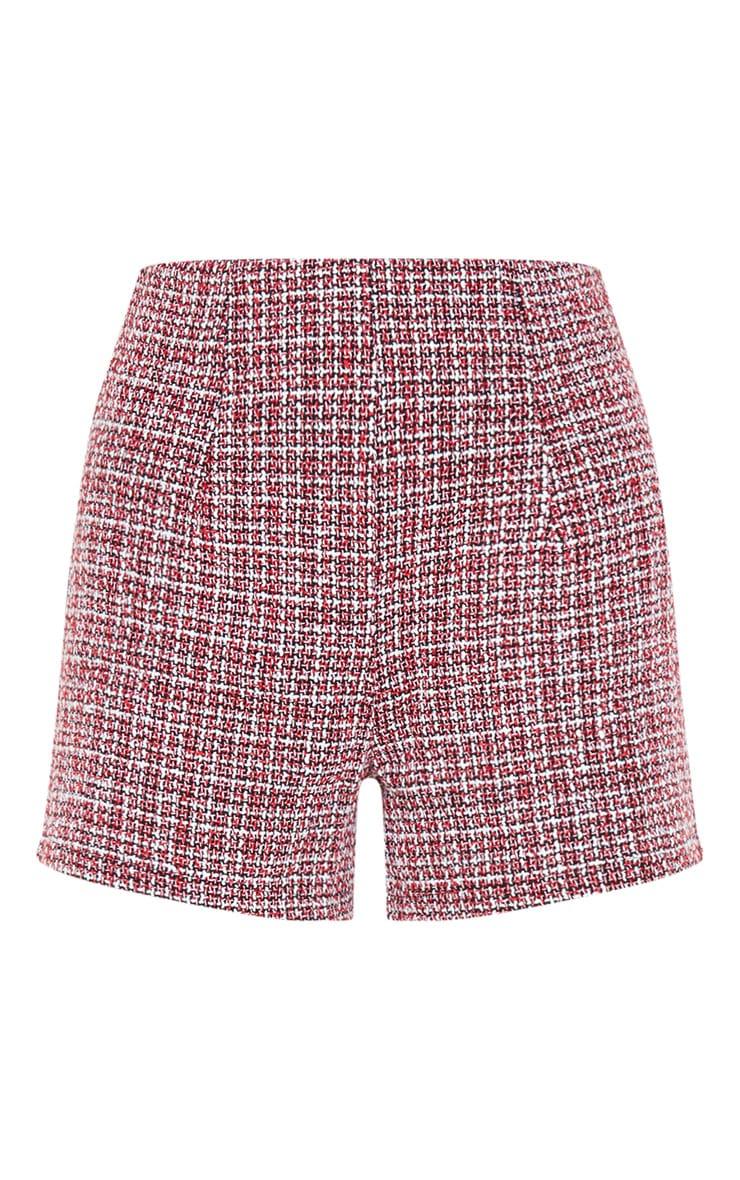 Short à pinces en tweed bordeaux 3