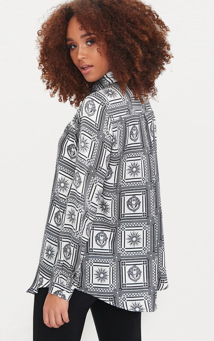 Monochrome Satin Paisley Print Button Front Shirt 2
